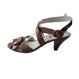 Miss Sixty Bronze Leather/Brown Suede Sandals 10
